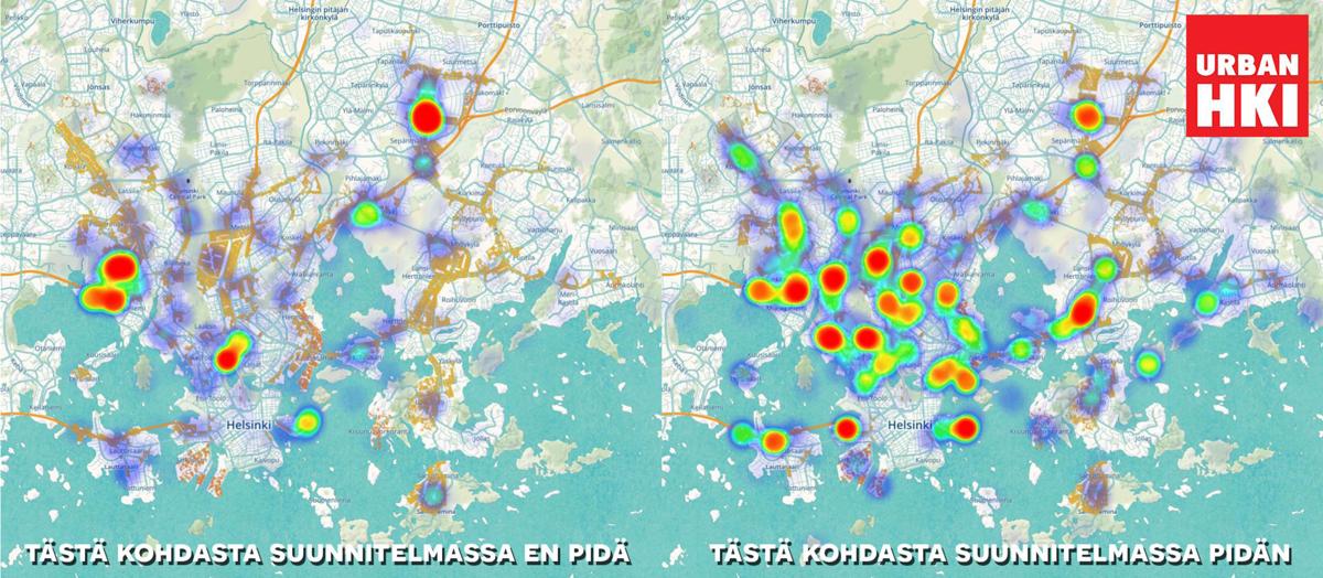 Urban Helsingin varjokaavasta saatua palautetta. Vasemmalla kohdat, joista vastaajat eivät suunnitelmassa pitäneet ja oikealla ne kohdat, joista pidettiin.