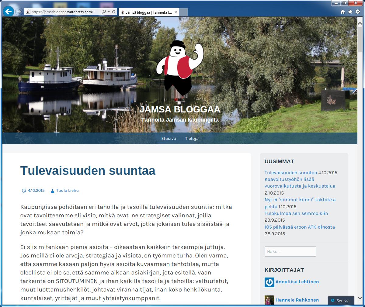 Lähde: Jämsän kaupunki, kuvakaappaus Jämsä bloggaa -blogin etusivulta 5.10.2015.