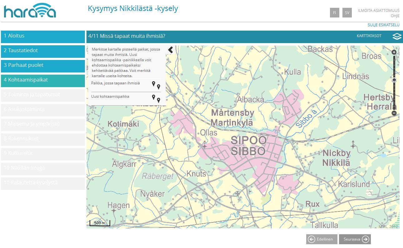 Kuvakaappaus Nikkilän karttakyselystä, joka toteutettiin Harava-kyselytyökalulla.